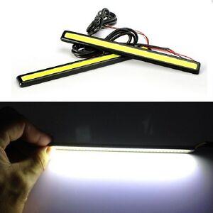 2X Waterproof 12V COB White LED Lights DRL Fog Driving Lamp 17CM Daytime 5~6000K