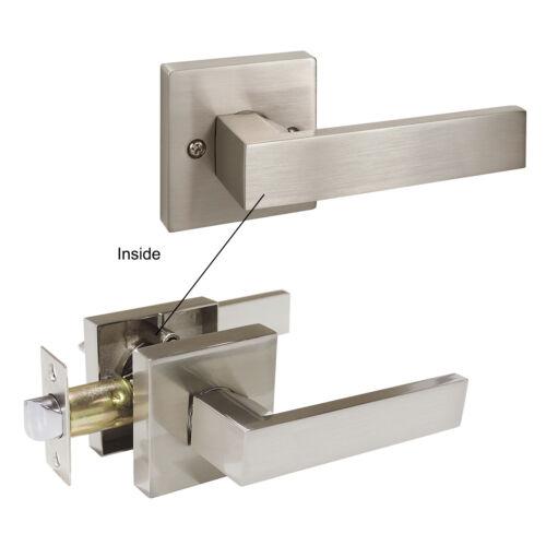 Square Door Knob Lever Closet Bathroom Dummy Handle Keyed Entry Lock Set
