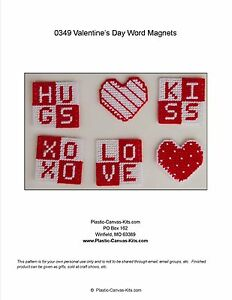 Valentine S Day Words And Hearts Magnets Love Hug Plastic Canvas