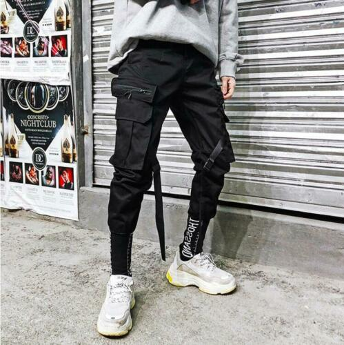 Men Combat Casual Cargo Jogger Strap Zip Pocket Ankle Tactic Pants Trousers A373