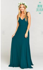 7dbf4993333 Show Me Your Mumu Jenn Maxi Gown Dress ~ Deep Jade Chiffon Large ...