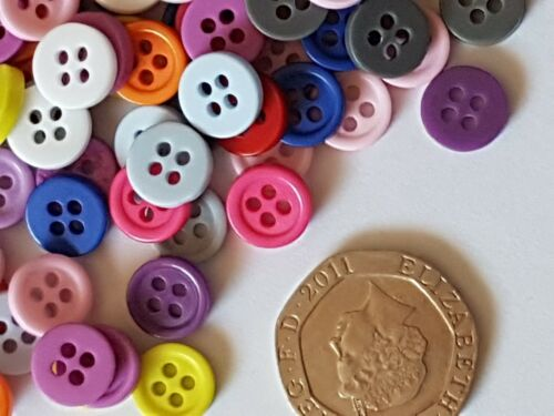 MIXED 9MM PLASTIC RESIN CRAFT SEWING BUTTONS EMBELLISHMENT SCRAPBOOK-CARDS