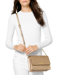 a83a7010af21 NWT Michael Kors Leather Large Gusset Crossbody Purse PALE Gold MSRP ...