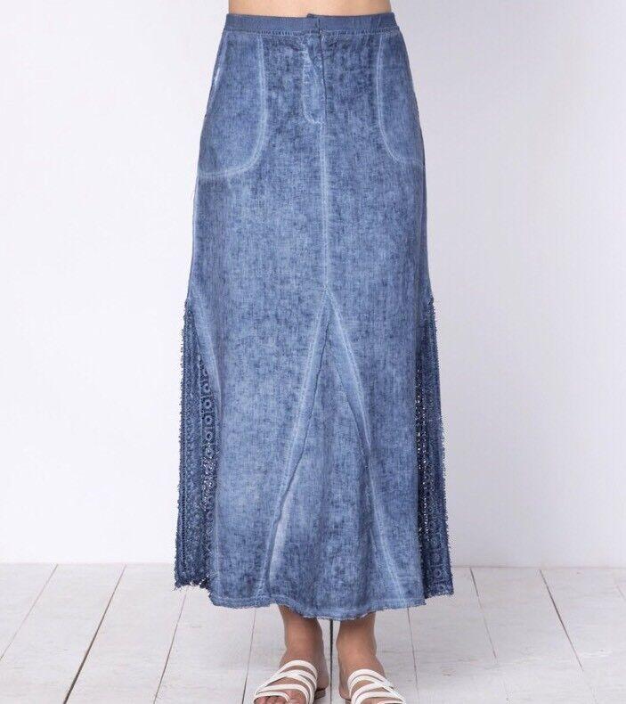 XCVI Kendall Skirt Linen Cold Wash bluee- NWT Size XS