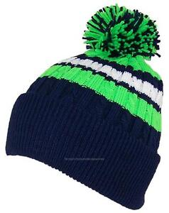 237513289 Details about BWH Quality Cable Knit Cuffed Hat W/Large Pom Pom #726  Navy/Neon Green/White