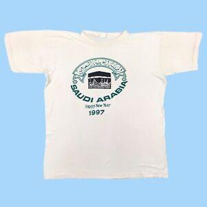 Saudi Arabia T Shirt Happy New Year 1997 Single Stitch Large Vintage Tee