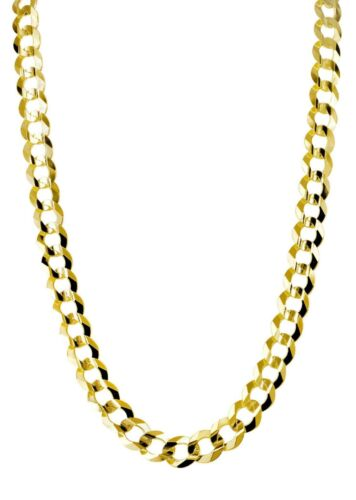 """Sterling Silver 925 Yellow Gold Plated Solid Cuban Curb Link Chain 28/"""" 3.75mm"""