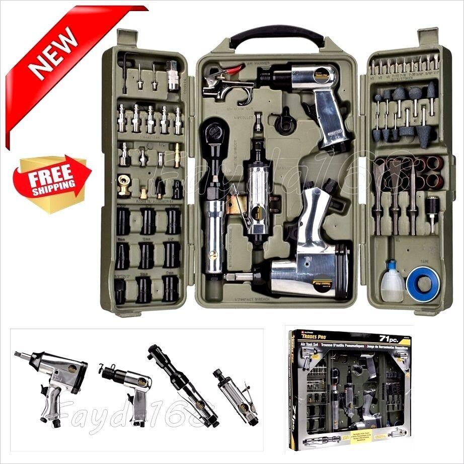 Professional 71 Piece Air Tools Accessories Hammer Kit Set Shop Mechanics Tool