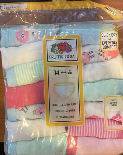 Fruit of the Loom Girls Cotton Brief Underwear 14 Pack Panties Sizes 4,10,12