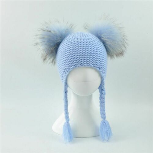Girls Boys Knitted Beanie Double Two Real Fur Pompom Hat for Children