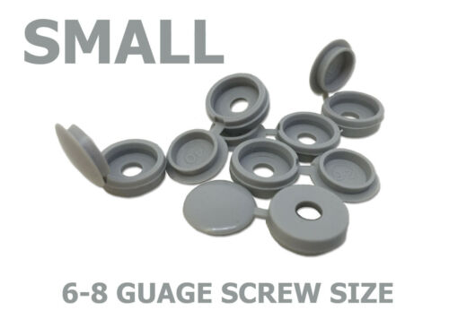LIGHT GREY HINGED PLASTIC SCREW COVER CAPS TO FIT 6-8 GAUGE 3.5-4.0mm SCREWS