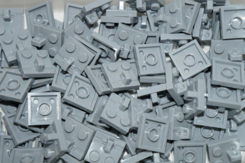 LEGO 15 x  MEDIUM STONE GREY PLATE 2 x 2 WITH 1 LOCKING FINGER ON TOP No 92582