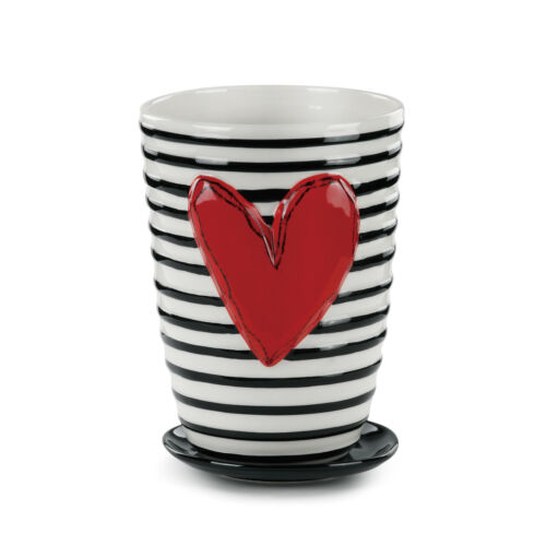 Pot and Saucer Black White Stripe 8 x 5 Ceramic Stoneware Standing Planter Set