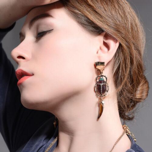 Femmes Mode élégante Boucles d/'oreilles pierre naturelle rouge gros animaux insectes Goutte Bijoux