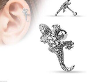 1 Piercing De Tragus/cartilage Lézard En Acier Chirurgical 316l Et Verre Uipug50u-08005118-344423389