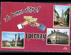 EPERNAY-51-PLACE-EGLISE-HOTEL-DE-VILLE-A-LA-BONNE-VOTRE-en-1970