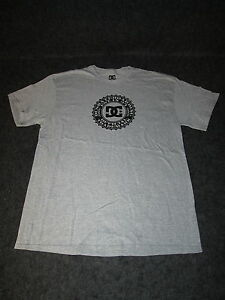 Hombre-Autentico-Dc-Moda-Informal-Skate-Bmx-Camiseta-S-M-L-XL-XXL-Gris-Negro