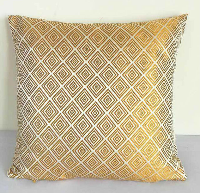Chinese Brocade Cushion Cover Pale Gold Diamond Motif Custom Made cbscc-517