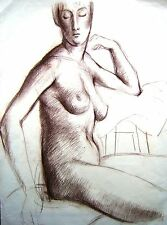DEREK FOWLER STUDY OF NUDE WITH HEAD FACING VIEWER CHALK  C1940