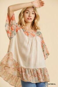 Umgee Floral Linen Blend Short Sleeve Ruffle Hem Top Size S M L + Plus XL 1X 2X
