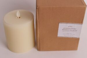 "Discontinued POTTERY BARN BIRCH BARK PILLAR CANDLE 4x4.5"" Real Candle"