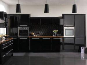 High Gloss Black Vinyl Wrap Kitchen