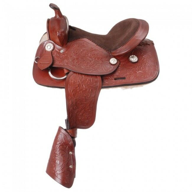 King  Series Jr. Plainsman 12  Light Chestnut Leather Tooled Saddle Equine KS192  first time reply