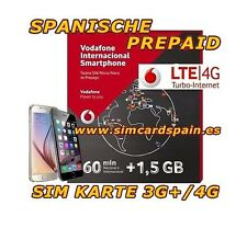 SPANISCHE PREPAID VODAFONE INTERNATIONALE DATEN SIM KARTE 4G INTERNET SPANIEN