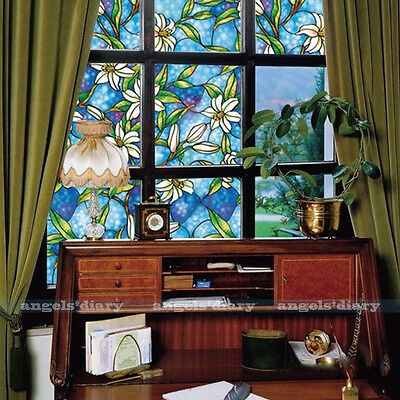 NEW 1.5M Blue Orchid Privacy Stained Glass Window Film Static Cling Film Decor