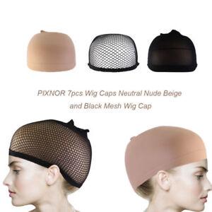 7pcs-Wig-Cap-Wig-Liner-Wig-Stocking-Cap-Black-Neutral-Beige-Mesh-Nylon-Stretch