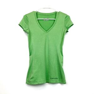 Under-Armour-Heat-Gear-Fitted-Green-V-Neck-Short-Sleeve-Shirt-Womens-XS