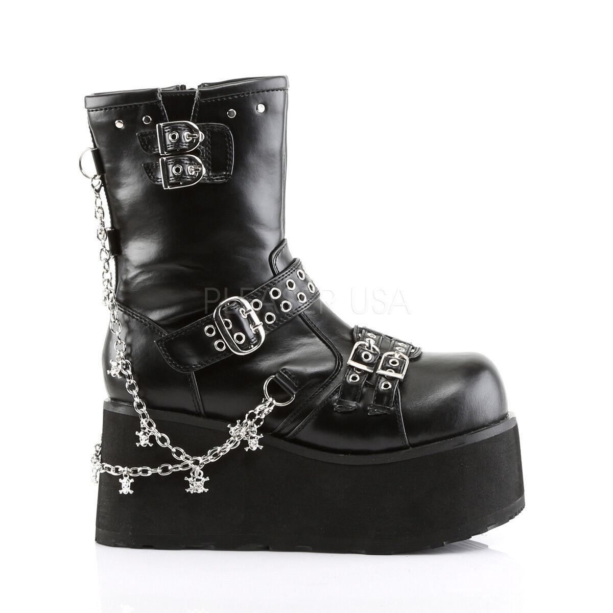 Demonia 3.5  plataforma Vegano Vegano plataforma Cadenas & Hebillas Negro botas al Tobillo Punk Goth 6-12 12e2b1