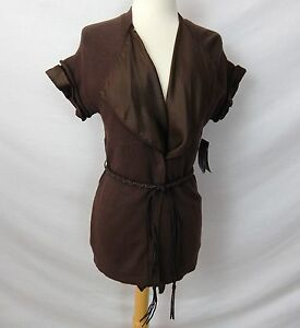 ETCETERA-BROWN-2-pc-BELTED-CARDIGAN-SWEATER-SHELL-SHIRT-sizes-M-L-XL-NEW-275