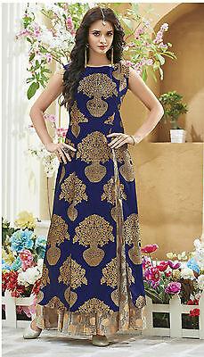 Shanaya Glamorous Blue Slits Pattern Jama Slik Kurti / Kurta