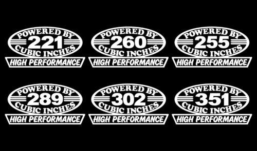 2 SBF V8 ENGINE DECALS 221-255-260-289-302-351 HP WINDSOR 5.0 STICKER 5.8 EMBLEM