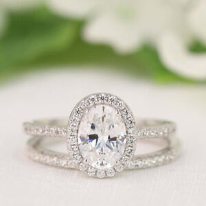 2.70 Ct Oval Moissanite Band Set 14K Solid White Gold Anniversary Ring Size 4 5
