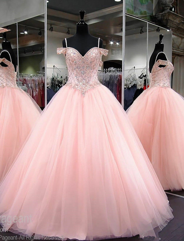 Hot Sale Pink Sweetheart Ball Prom Dress 2019 Sweet 16 16 16 Beaded Quinceanera Dress 9c4d37