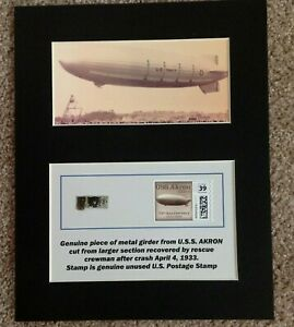 MATTED  PIECE OF AIRSHIP U.S.S. AKRON WITH UNUSED US 39 cent POSTAGE STAMP