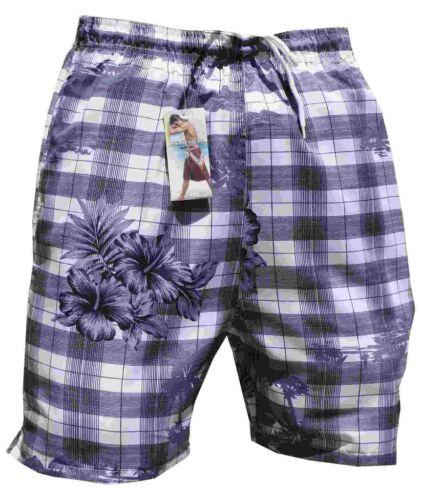 Pantaloncini da bagno bermuda costume a quadri palma Argento da Bagno Slip Boxer In S M L XL XXL