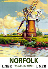 Art ad Norfolk LNER Tren Ferrocarril viajar cartel impresión