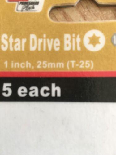 Set Of Five Grip Rite Star Drive Bit