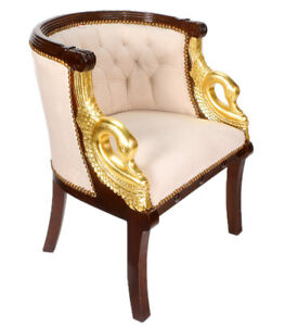 Empire Salon Chair Mahogany Seat Furniture With Golden Swans Luxury