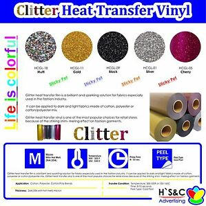 Glitter-Heat-Transfer-Vinyl-5-Colors-20-034-x1-3-5Ft-amp-1-2-3-5Yd-High-Korean-Quality