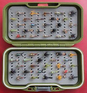 TRUITES-MOUCHES-GS-VS-Fly-Box-Sans-Ardillon-Or-dirigee-Nymphe-Buzzers-peche-a-la-mouche