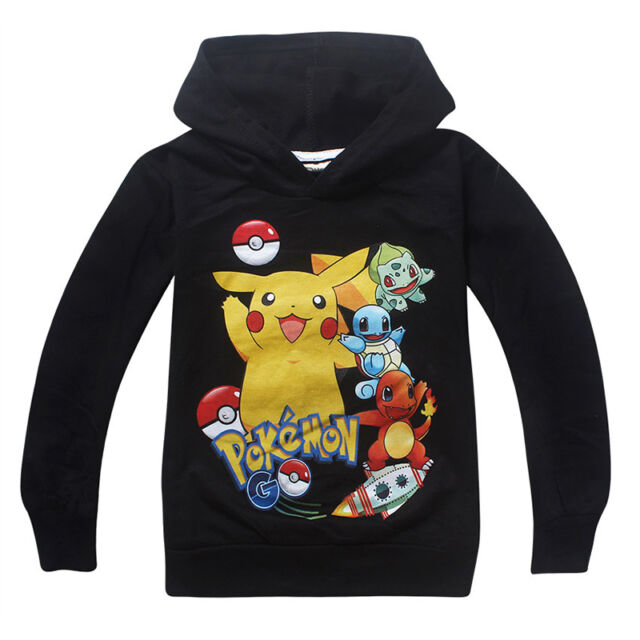 Kids Girls Boys Hoodies Long Sleeve POKEMON Childrens Cosplay Sweatshirt 3-10Y