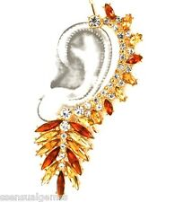 """Over Ear Cuffs Earrings Cuff  HOOK 3.5"""" Crystal Gold Tone Amber Tones"""