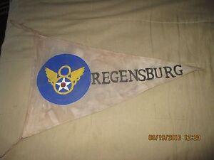 WWII USAAF 8 TH AAF ENGLAND -REGENSBURG MISSION BAR/BARRACKS WALL FLAG