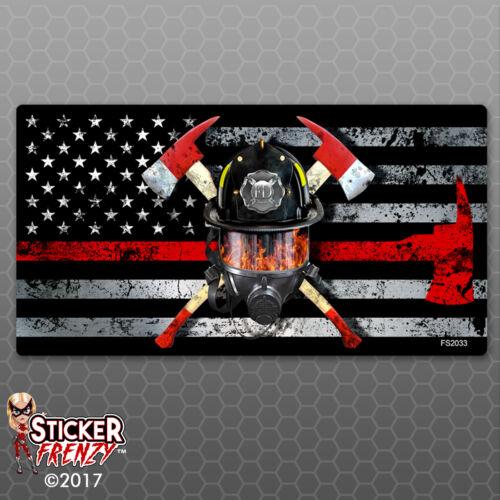 "Firefighter Vinyl Decal car bumper #FS2033 Thin RED Line Flag /""MASK/"" Sticker"