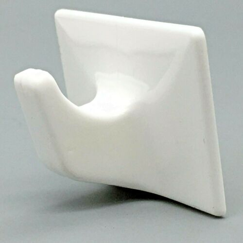 Details about  /STICK ON HOOKS 50mm Self Adhesive Plastic Sticky Coat Hook Door Wall WHITE 739