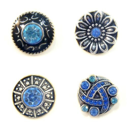 Noosa Style Chunk Chunks Ginger Snap Button Jewellery Charms Crystal Blue 18mm